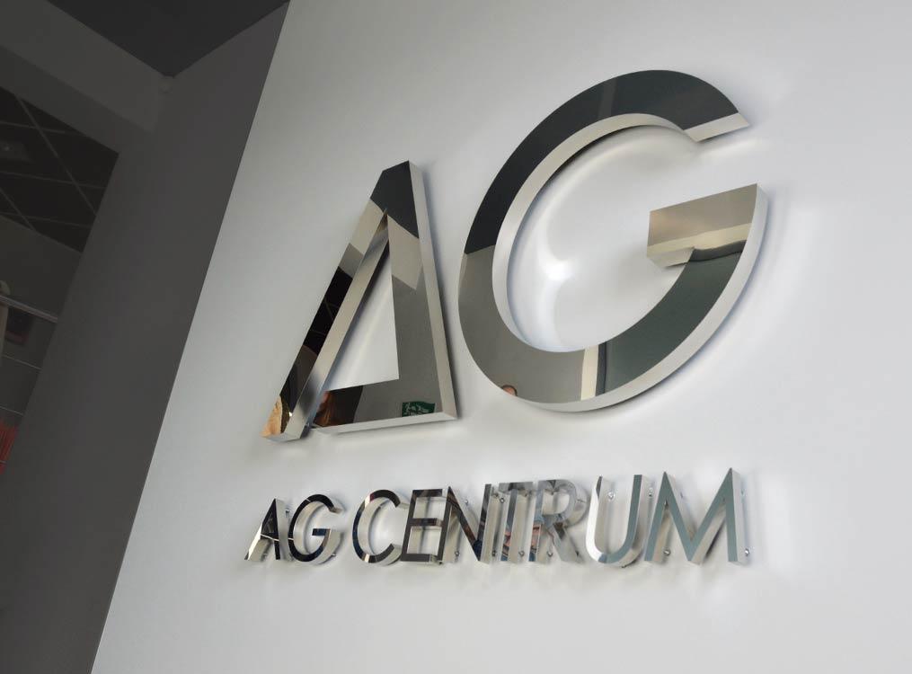 Litery 3D stal nierdzewna AG Centrum